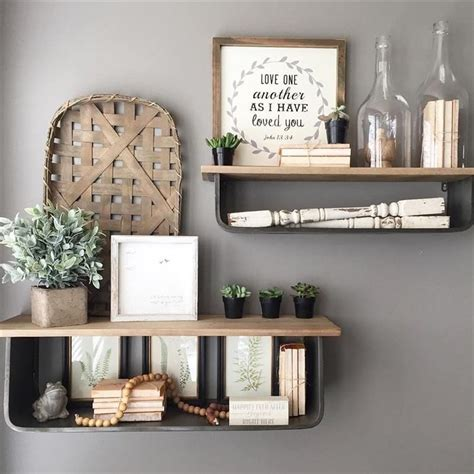farmhouse accessories metal  wood open wall shelves