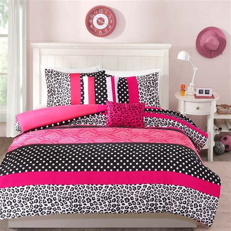 gray polka dot comforter modern chic pink grey white black polka dot girl leopard
