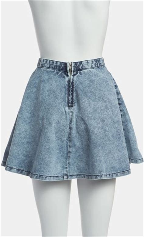 topshop moto acid wash denim skater skirt in blue mid