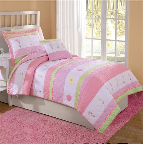 teen girl comforter tara stripe pink green flowers twin full queen quilt