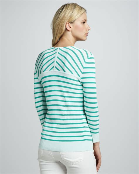 Berkualitas Prewalker Coastal Stripe Ctr burch nautical striped sweater in white lyst