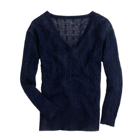 j crew cable knit sweater j crew linen v neck cable knit sweater in blue navy lyst
