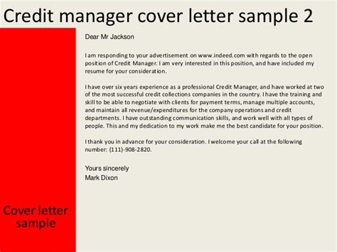 Credit Manager Cover Letter Credit Manager Cover Letter