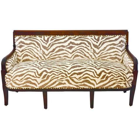 zebra settee empire style french settee newly upholstered in zebra
