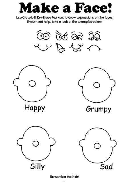 printable coloring pages emotions make a face coloring page crayola com