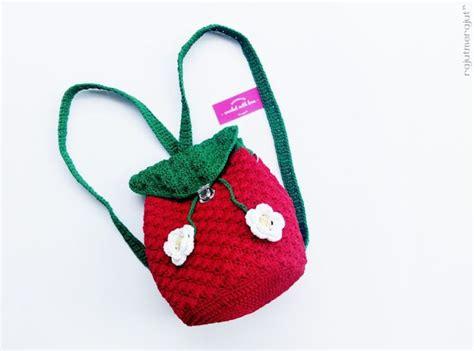 crochet strawberry backpack bag tas rajut ransel
