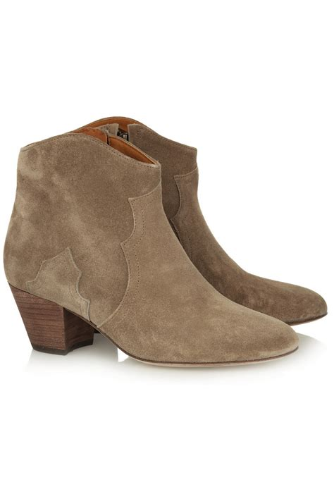 suede ankle boots marant suede ankle boots in brown taupe lyst