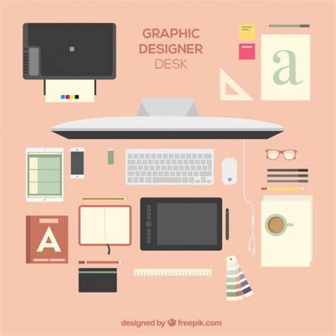 lovely graphic designer desk vector premium