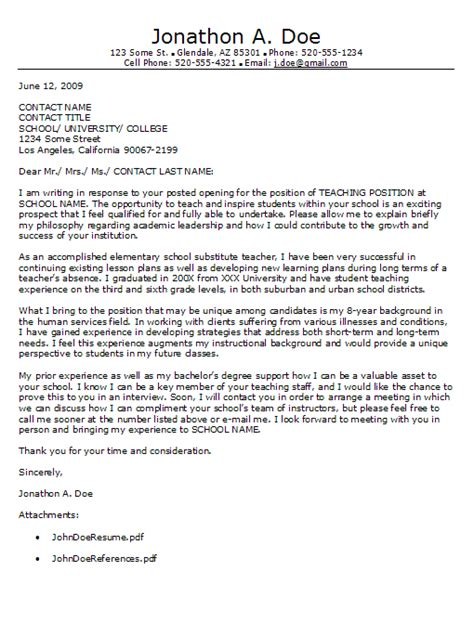 cover letter for teaching education cover letter