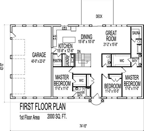 2000 sq ft single story house plans 2000 sq ft house plans 3 bedroom single floor one story designs