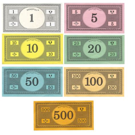 monopoly money traditional currency original colors