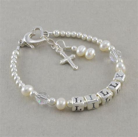baptism bracelet baby christening by sixsistersbeadworks