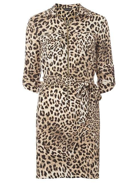 Animal Print Shirt brown animal print zip front shirt dress dresses sale
