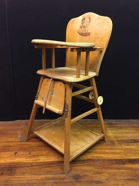 High Chairs - antique solid wood convertible high low high chair w