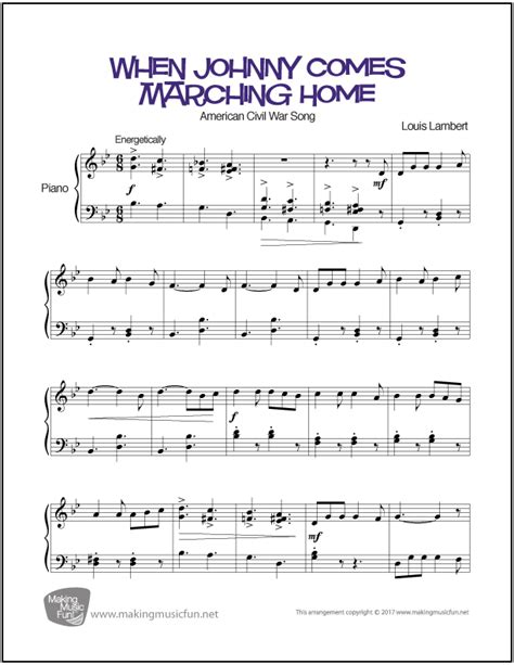 when johnny comes marching home easy piano sheet