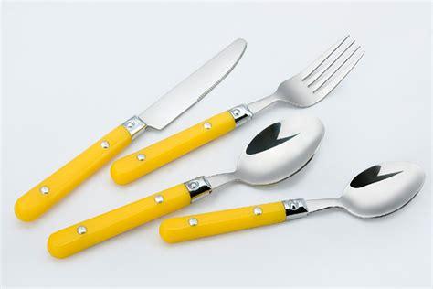 cutlery handles yellow handle flatware set plastic handle flatware set