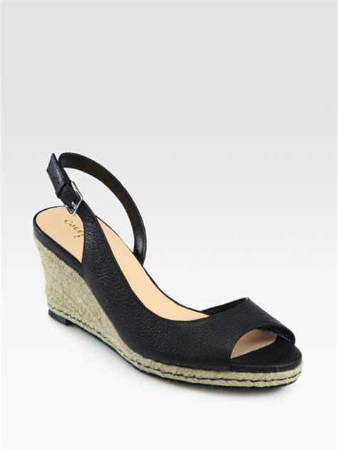 cole haan black wedge sandals cole haan adelaide leather espadrille wedge sandals in