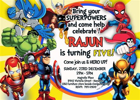 printable birthday cards superhero superhero birthday invitations templates best