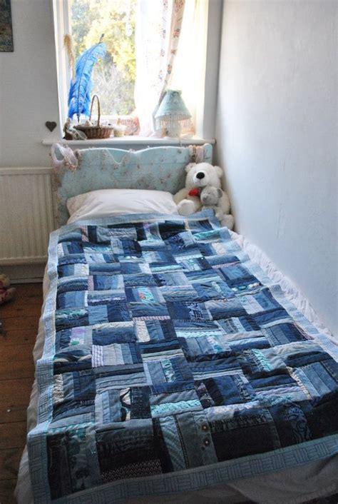 Denim Patchwork Quilt - denim patchwork quilt denim blue teal rail fence