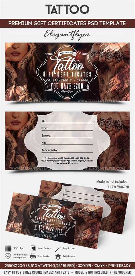 printable tattoo voucher tattoo gift voucher template by elegantflyer