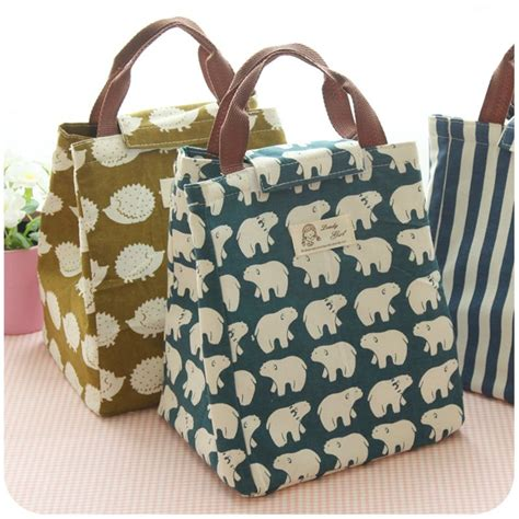 lunch tote new fashion portable insulated canvas lunch bag waterproof tote thermal lunch bags for