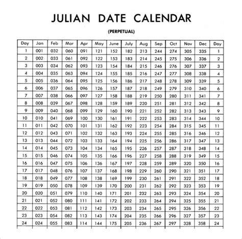 julian calendar printable year calendar