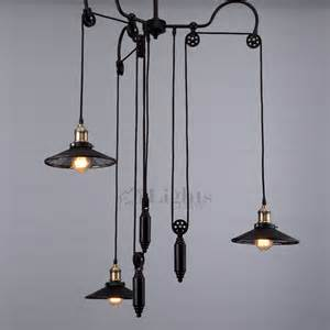 Wrought Iron Pendant Light Adjustable Pulley Industrial Pendant Lights Black Wrought Iron
