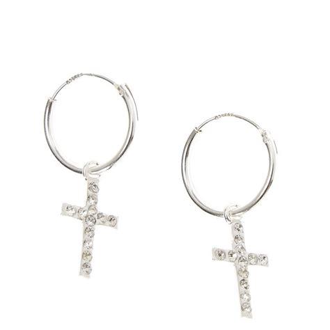 Cross Sterling Silver Earring sterling silver cross dangle hoop earrings s us