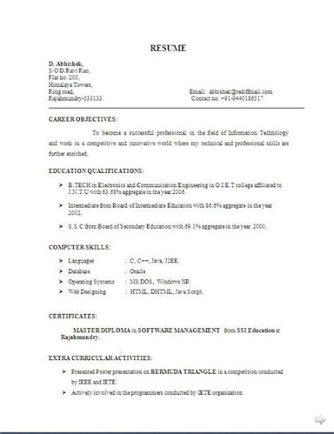 resume format for freshers electronics and communication engineers pdf free 142 best images about project management on