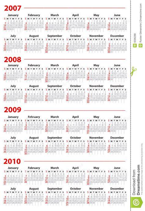 Z Calendario 2007 Calendar For 2007 2008 2009 And 2010 Royalty Free Stock