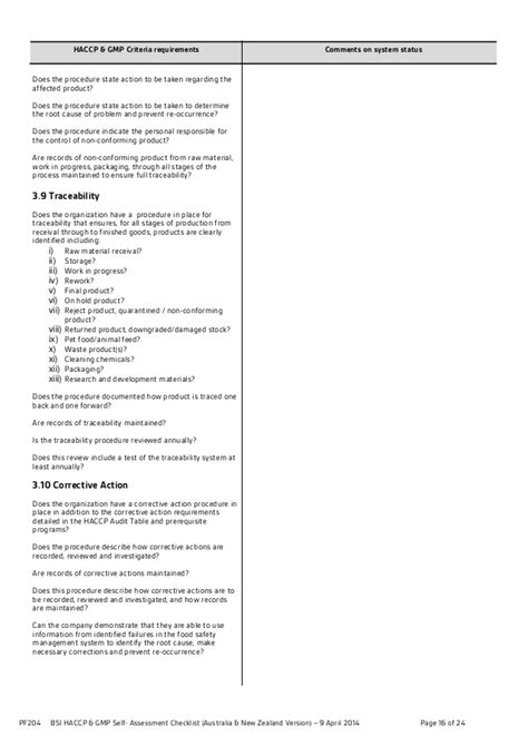 haccp checklist template bsi haccp gmp self assessment checklist