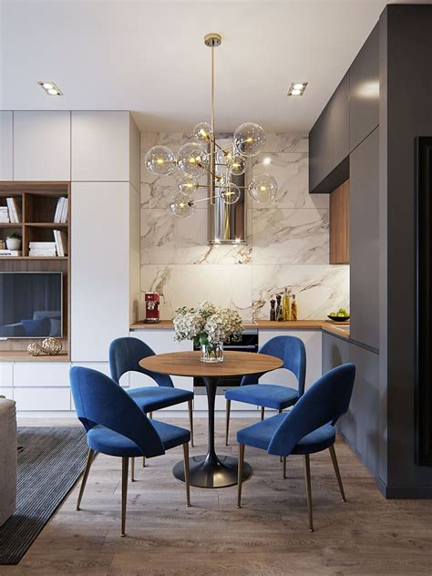 bubble chandelier blue modern chairs flat cabinetry
