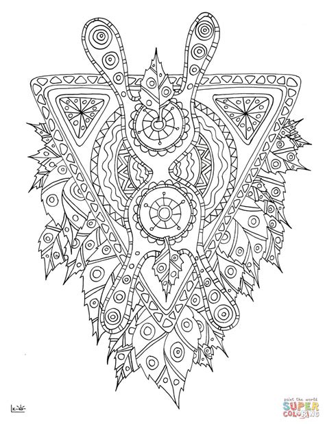 tribal pattern coloring pages mythical creature with tribal pattern coloring page free