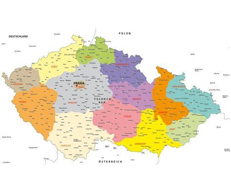 karte deutschland tschechien politische landkarte der tschechischen republik als