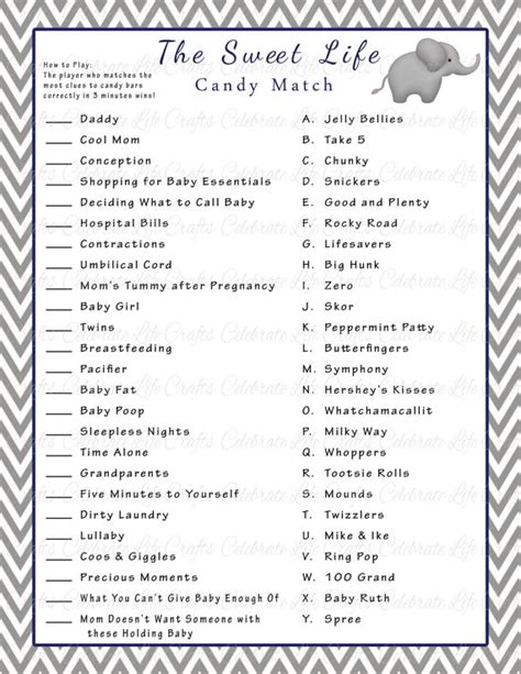 sweet themed quiz baby shower games printable with answers google search