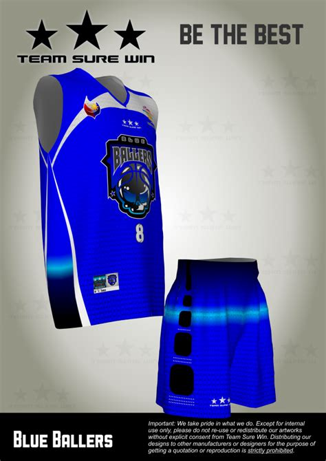 customized basketball jersey singapore blue ballers team sure win sports uniforms