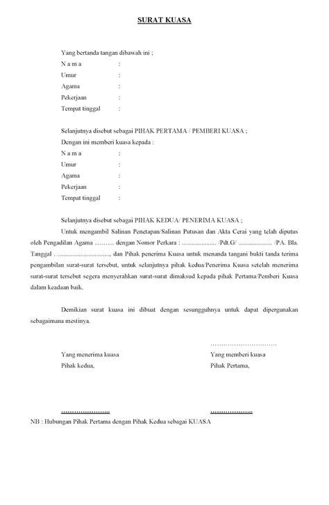 format surat kuasa pengambilan akta cerai surat kuasa pengambilan penetapan putusan dan akta cerai