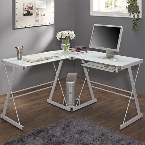 White Glass Corner Computer Desk Small Corner Desk Glass Corner Desk