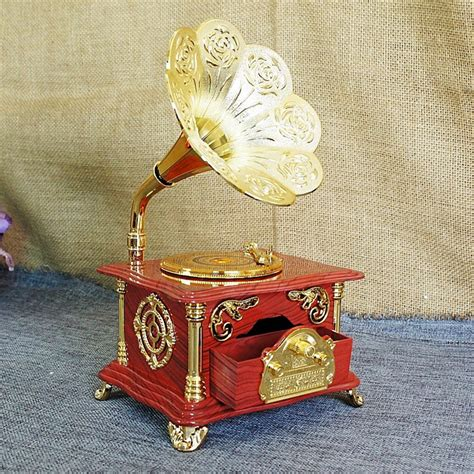 unique gifts home decor retro gramophone music box record player model clockwork