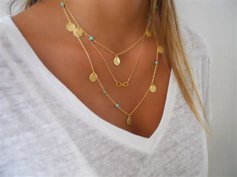 Layered Necklace delicate gold layered necklace set infinity by annikabella