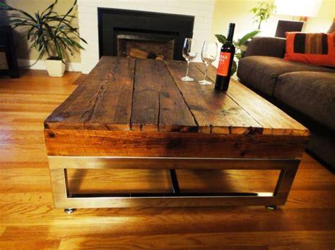 barn board table barn board coffee table on reclaimed chrome base