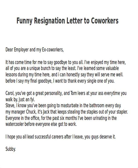 Resignation Letter To Coworkers sle resignation letter 6 exles in pdf word
