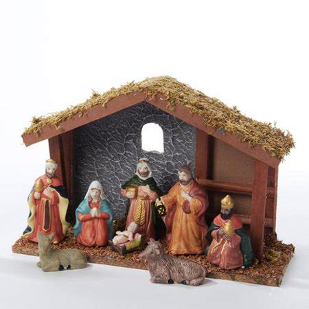 christmas stable walmart 11 quot wooden nativity set with stable and 8 figures walmart