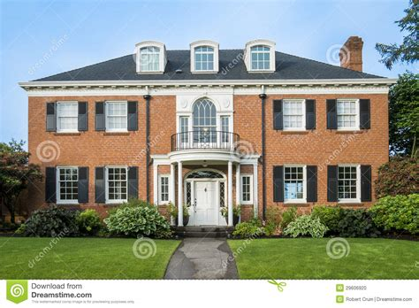 colonial brick homes classic colonial brick house stock photo image 29606920