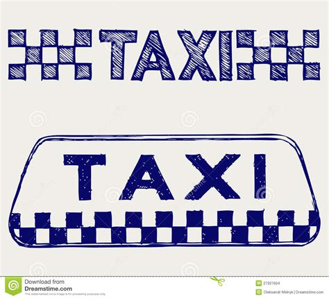 doodle sign taxi sign doodle style stock images image 27927604