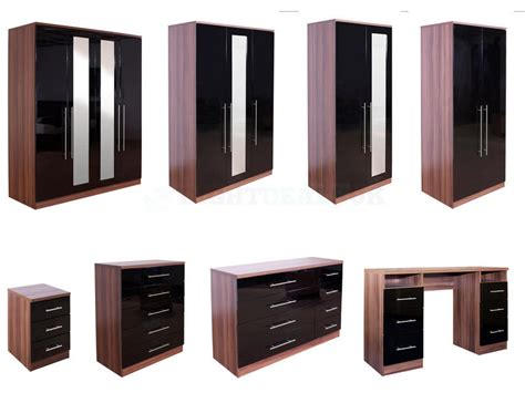 bedroom furniture black gloss and walnut home decor