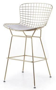 Bertoia Bar Stool Gold by Brass Bar Stools Upholstered In White Leather Modern