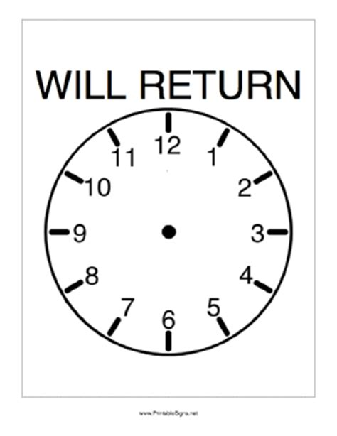 printable will return sign