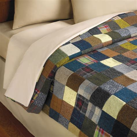 Patchwork Quilts by The Genuine Tweed Patchwork Quilt Hammacher Schlemmer