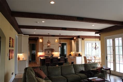adding beams to ceiling sitting room ceiling makeover faux wood workshop